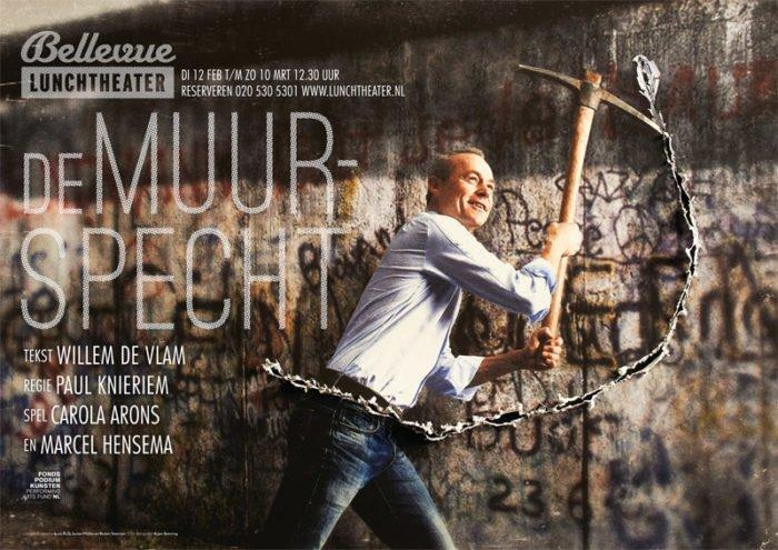 Marcel Hensema in het affiche van 'De Muurspecht', Bellevue Lunchtheater Producties. Ontwerp: Buro RuSt